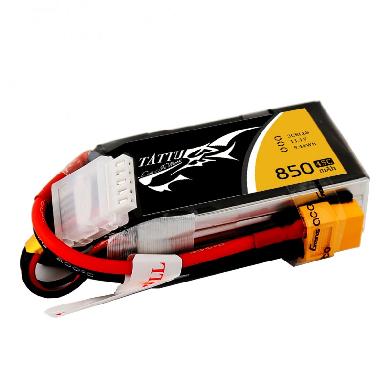 Tattu 850mAh 11.1V 45C 3S1P Lipo Battery Pack with XT30 plug