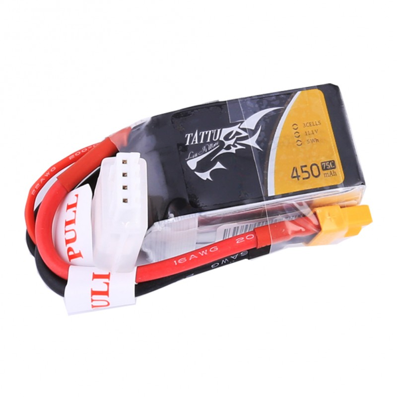Tattu 11.1V 45C 300mAh 3S1P Lipo Battery Pack with XT30 plug