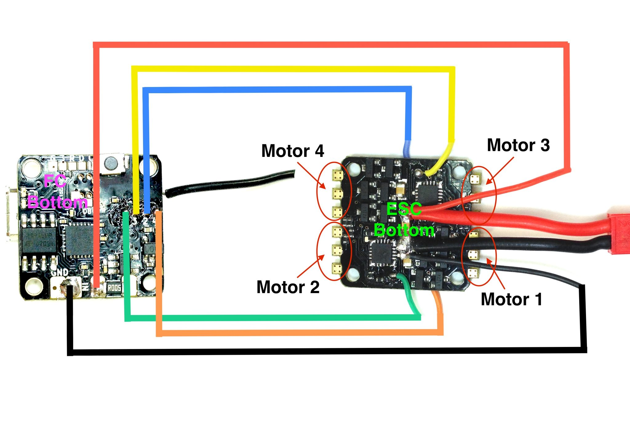TinyFish FC wiring diagram with TinyPepper ESC