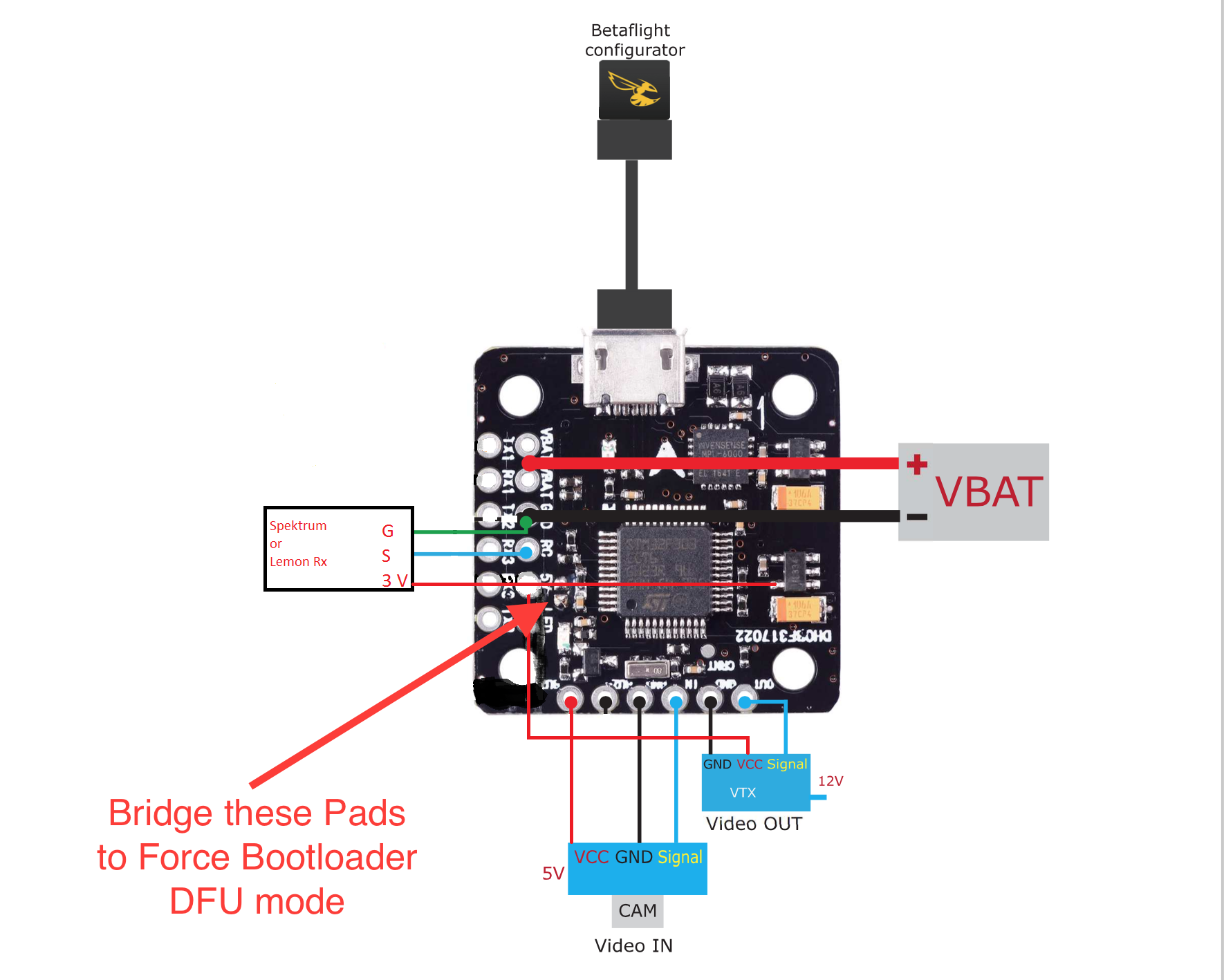 Mini F3 Flight Controller With Osd Betaflight Dshot 20x20mm Vtx Wiring Diagram 33v Receiver To Fc