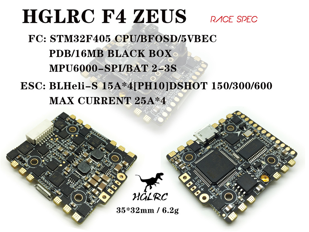 HGLRC F4 Zeus F4 Flight Controller With OSD BEC PDB AIO 15A BLheli_S 4 In 1 ESC