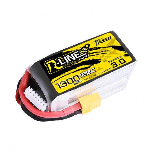 Tattu R-Line Version 3.0 1300mAh 22.2V 120C 6S1P Lipo Battery Pack with XT60 Plug