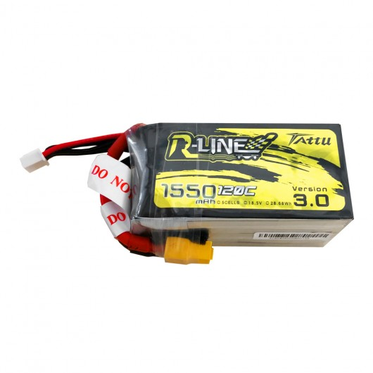 Tattu R-Line Version 3.0 1550mAh 18.5V 120C 5S1P Lipo Battery Pack with XT60 Plug