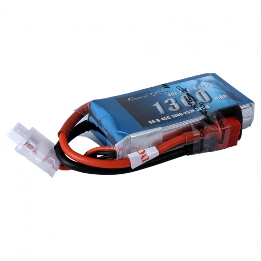 Gens Ace 1300mAh 7.4V 45C 2S1P Lipo Battery Pack with Deans Plug