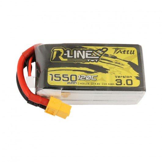Tattu R-Line Version 3.0 1550mAh 14.8V 120C 4S1P Lipo Battery Pack with XT60 Plug