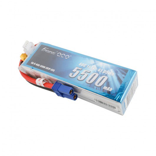 Gens ace 5500mAh 11.1V 60C 3S1P Lipo Battery Pack with EC5 Plug
