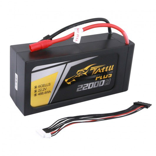 Tattu Plus 22000mAh 22.2V 25C 6S1P Lipo Smart Battery Pack with AS150+XT150 Plug (new version)