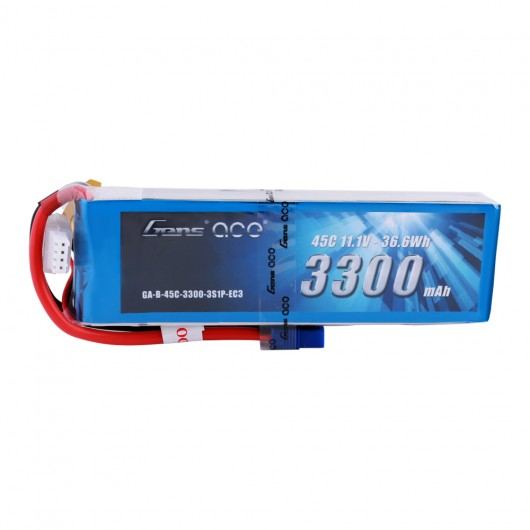 Gens ace 3300mAh 11.1V 45C 3S1P Lipo Battery Pack with EC3 Plug
