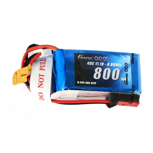 Gens ace 800mAh 11.1V 40C 3S1P Lipo Battery Pack with JST-SYP Plug