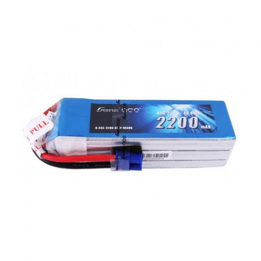 Gens ace 2200mAh 6S1P 22.2V 45C Lipo Battery Pack with EC3 Plug