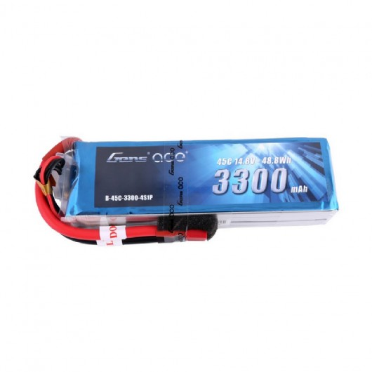 Gens ace 3300mAh 14.8V 45C 4S1P Lipo Battery Pack with Deans Plug