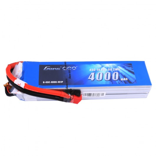 Gens ace 4000mAh 14.8V 45C 4S1P Lipo Battery Pack with Deans Plug