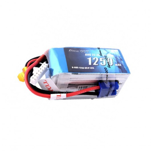 Gens Ace 1250mAh 22.2V 60C 6S1P Lipo Battery Pack with EC3 Plug