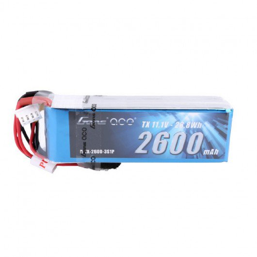 Gens ace 2600mAh 11.1V 3S1P TX Lipo Battery Pack with JR Plug