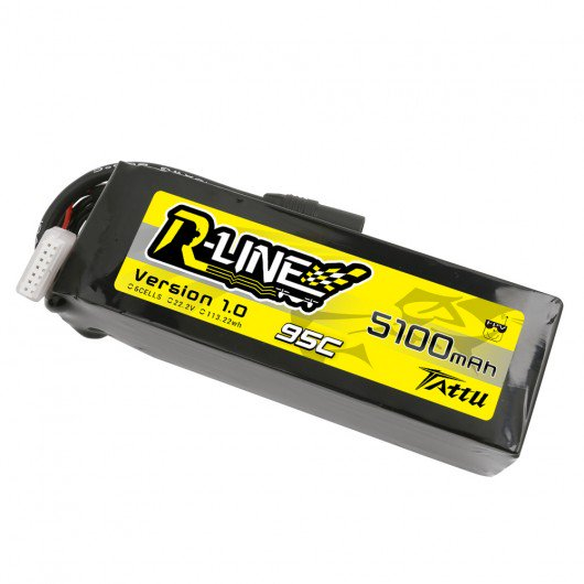 Tattu R-Line 22.2V 5100mah 6S 95C FPV Lipo Battery with AS150 Plug