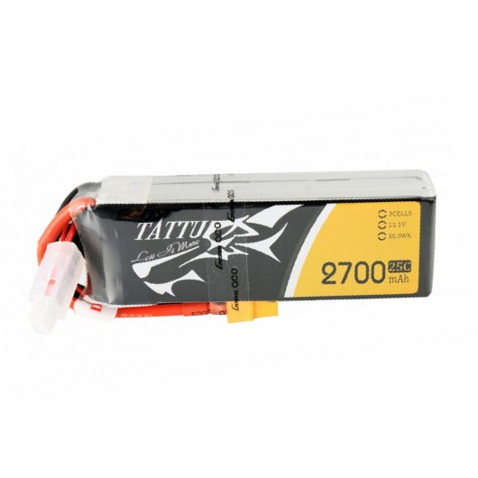Tattu 2700mAh 3S1P 25C 11.1V Lipo Battery Pack with XT60 Plug