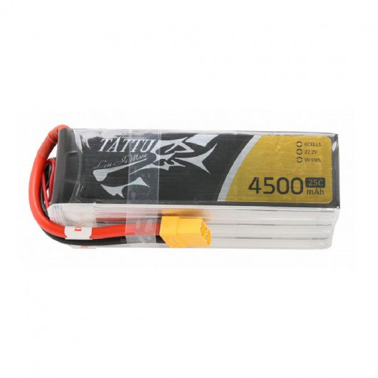Tattu 4500mAh 22.2V 25C 6S1P Lipo Battery Pack with XT60 Plug