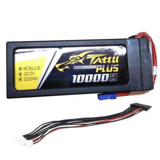 Tattu Plus 22.2V 25C 10000mAh 6S Lipo Smart Battery Pack with EC5 Plug (new version)