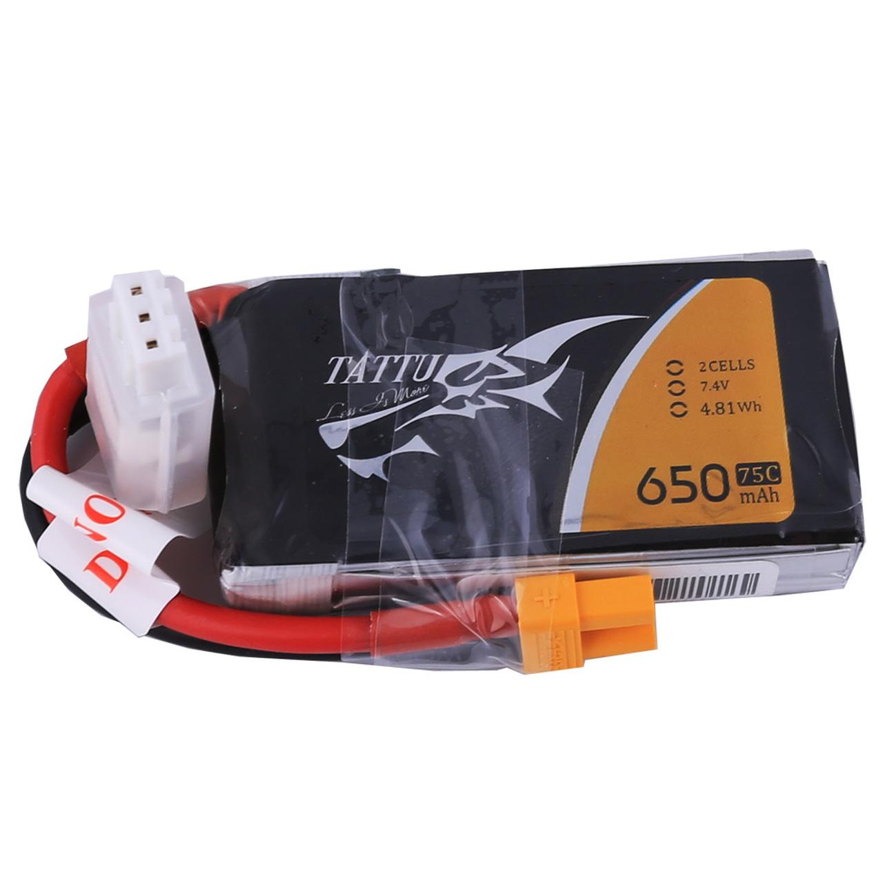 Tattu 650mAh 2S1P 75C 7.4V Lipo Battery Pack with XT30 Plug