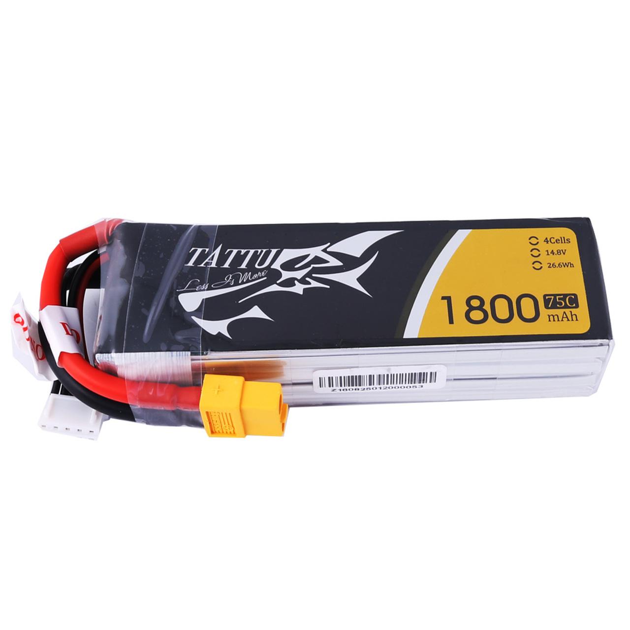 Tattu 1800mAh  75C 4S1P Lipo Battery Pack with XT60 Plug