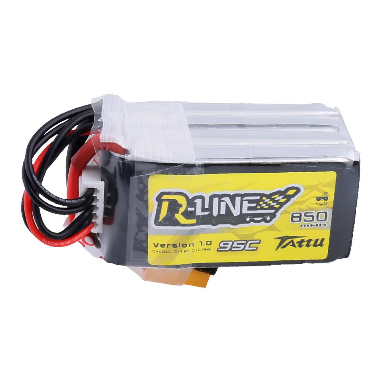 Tattu R-Line 850mAh 14.8V 95C 4S1P Lipo Battery Pack with XT60 Plug