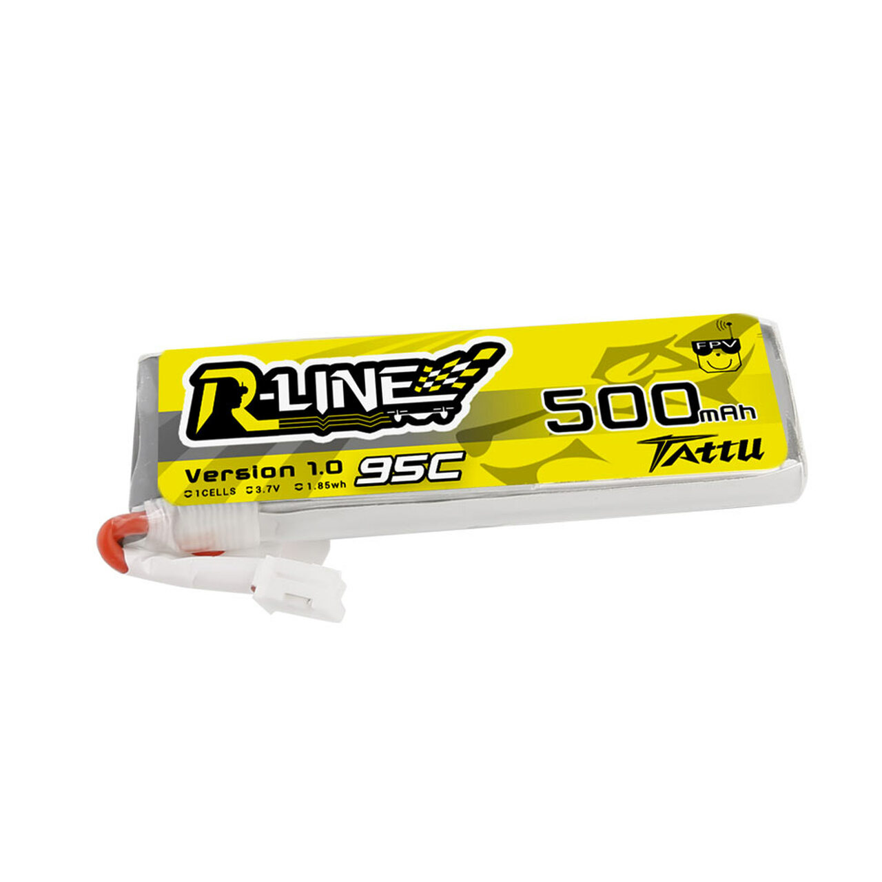 Tattu 500mAh 3.7V 95C 1S1P Lipo Battery Pack with JST-PHR Plug
