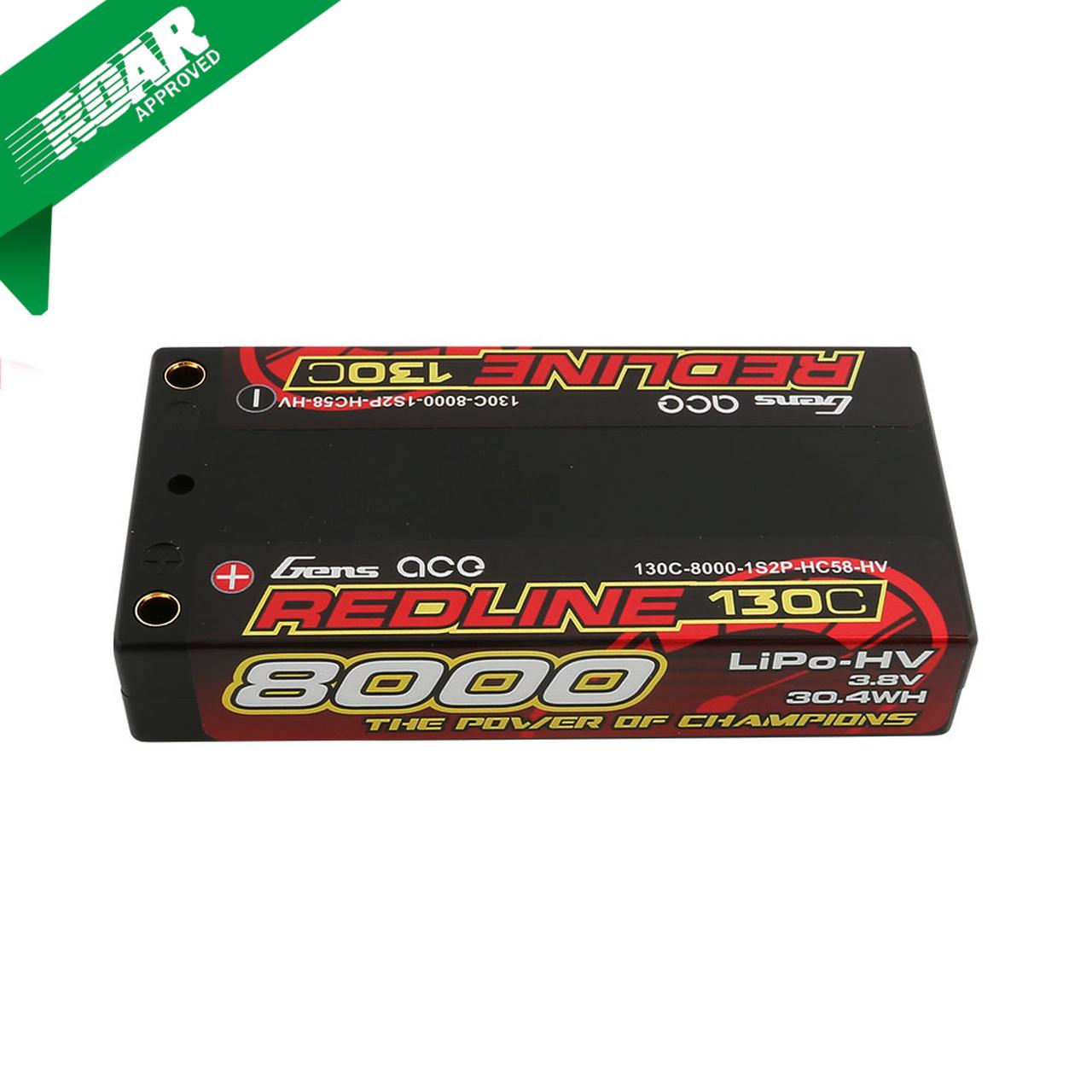 Gens ace Redline Series 8000mAh 3.8V 130C 1S2P HardCase HV Lipo Battery