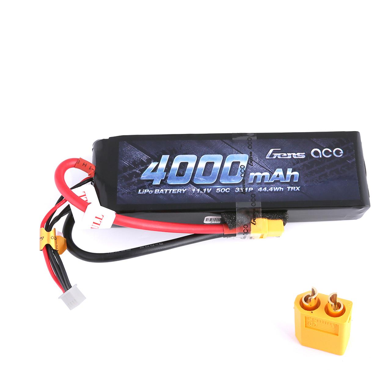 Gens ace 11.1V 50C 3S 4000mAh Lipo Battery Pack with XT60 Plug