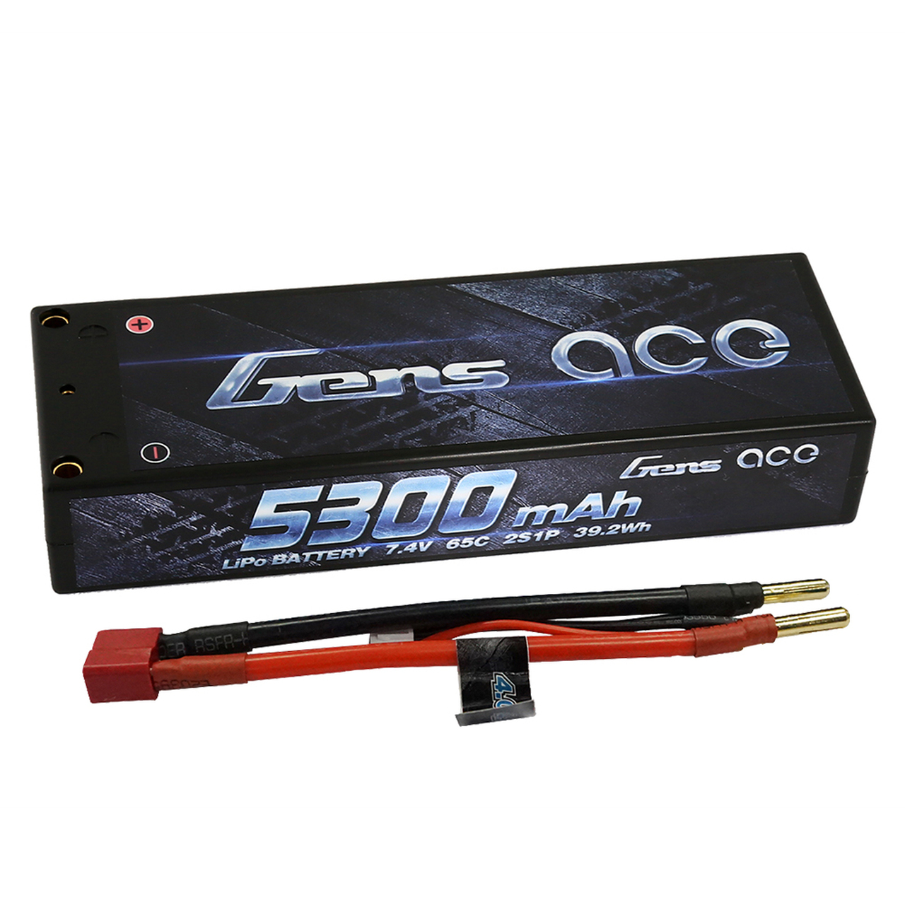 Gens ace 5300mAh 7.4V 65C 2S1P HardCase Lipo Battery Pack 10# with 4.0mm bullet to Deans plug