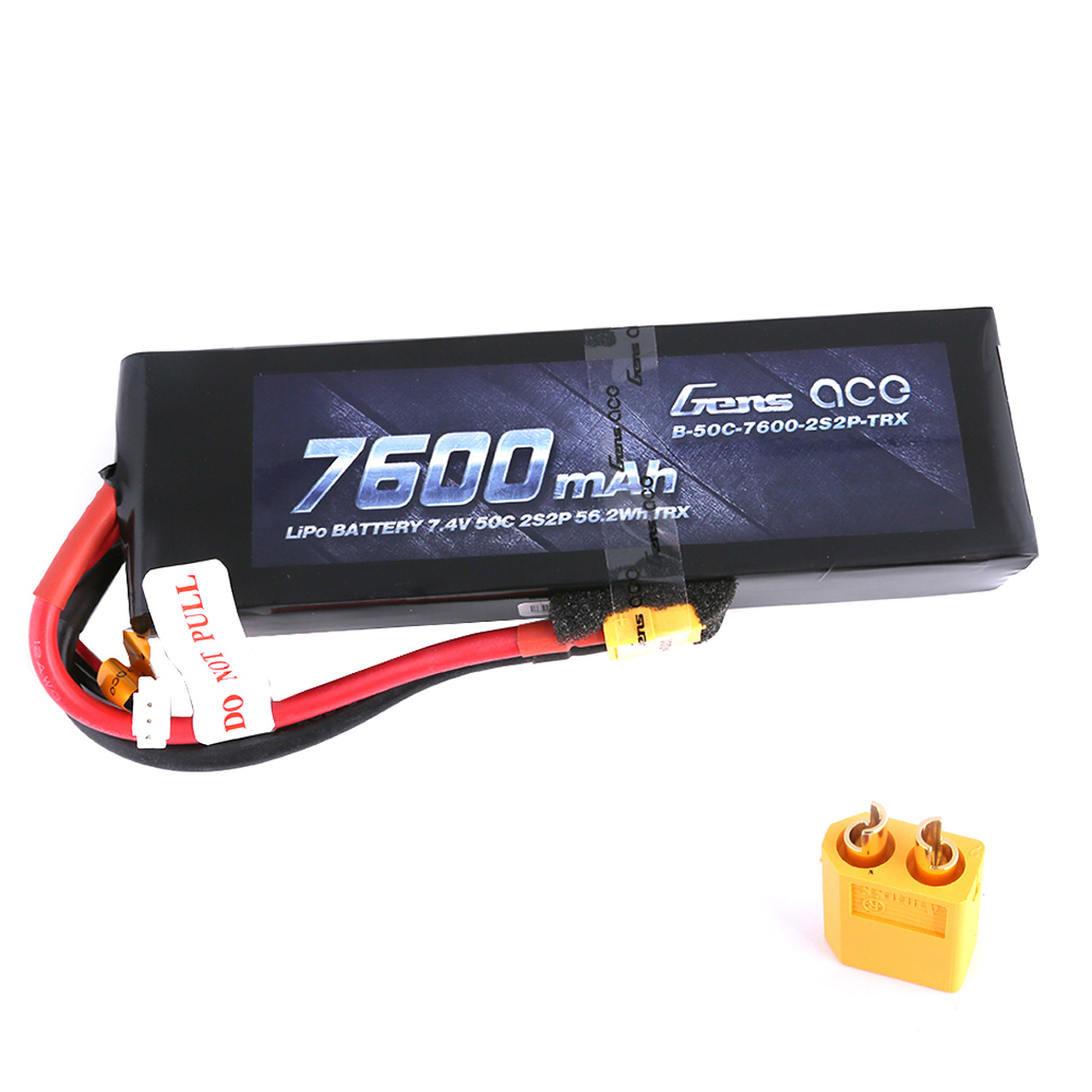 Gens ace 7600mAh 7.4V 50C 2S2P Lipo Battery Pack with XT60 Plug