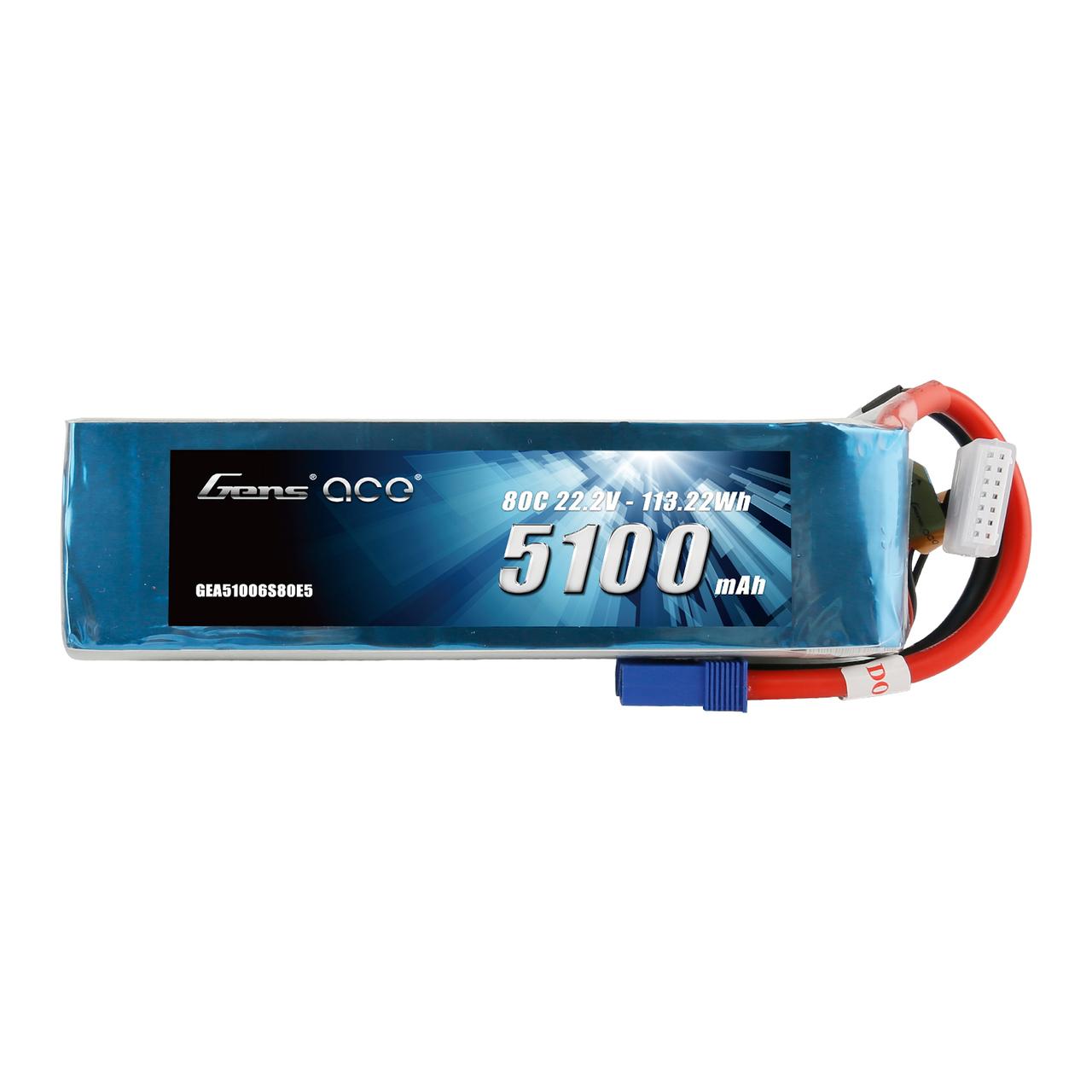 Gens ace 22.2V 80C 6S 5100mah Lipo Battery Pack with EC5 Plug