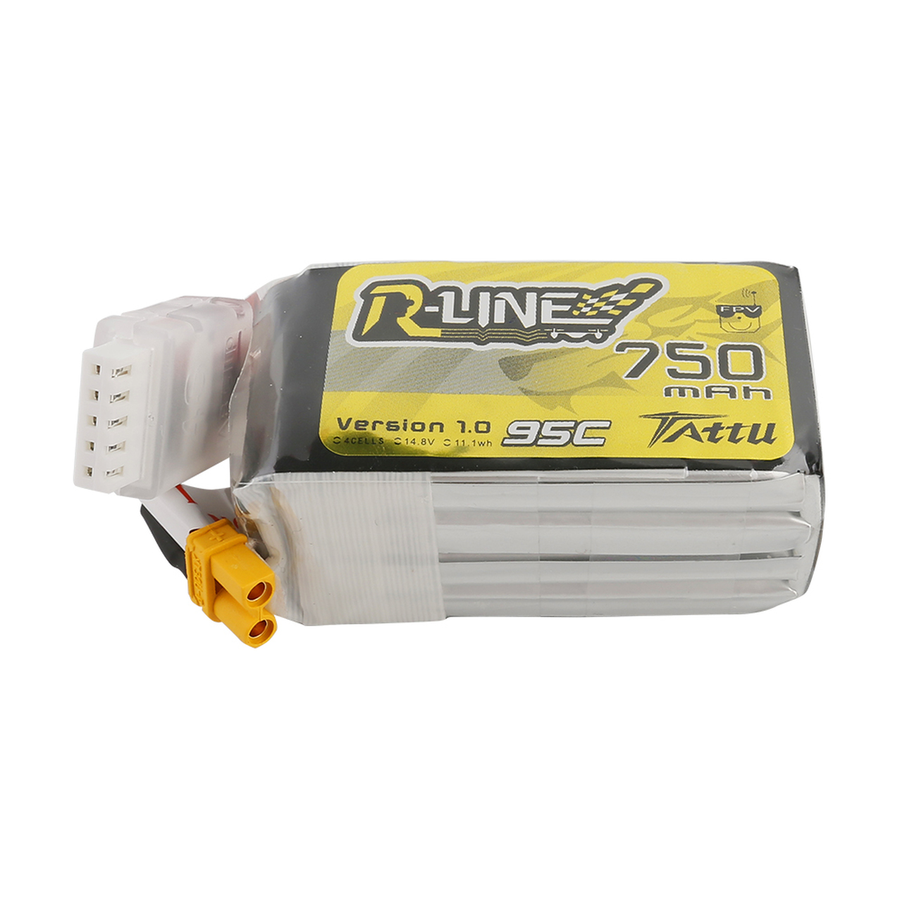 Tattu R-Line 750mAh 14.8V 95C 4S1P Lipo Battery Pack with XT30 Plug