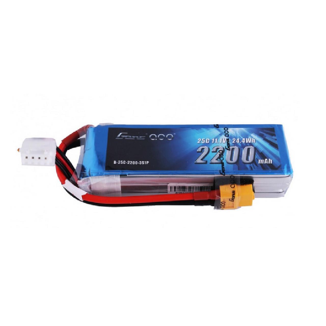 Gens ace 25C 2200mah 11.1V 3S Lipo Battery Pack with XT60 Plug