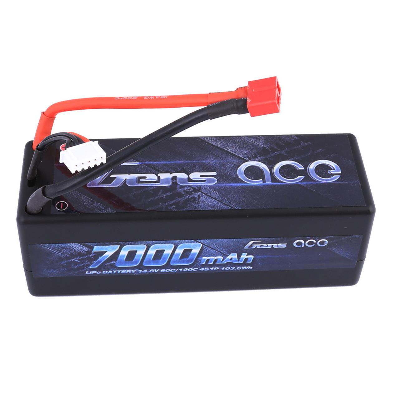 Gens ace 7000mAh 14.8V 60C 4S1P HardCase Lipo Battery 14# with Deans Plug