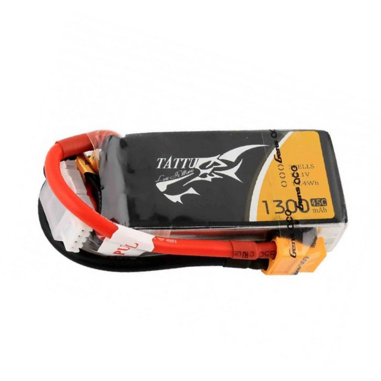 Tattu 1300mAh 45C 3S1P 11.1V Lipo Battery Pack with XT60 Plug