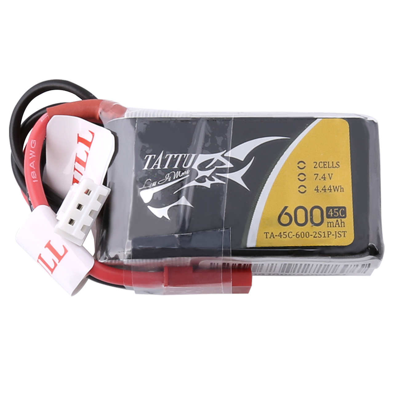Tattu 600mAh 7.4V 45C 2S1P Lipo Battery Pack with JST-SYP Plug
