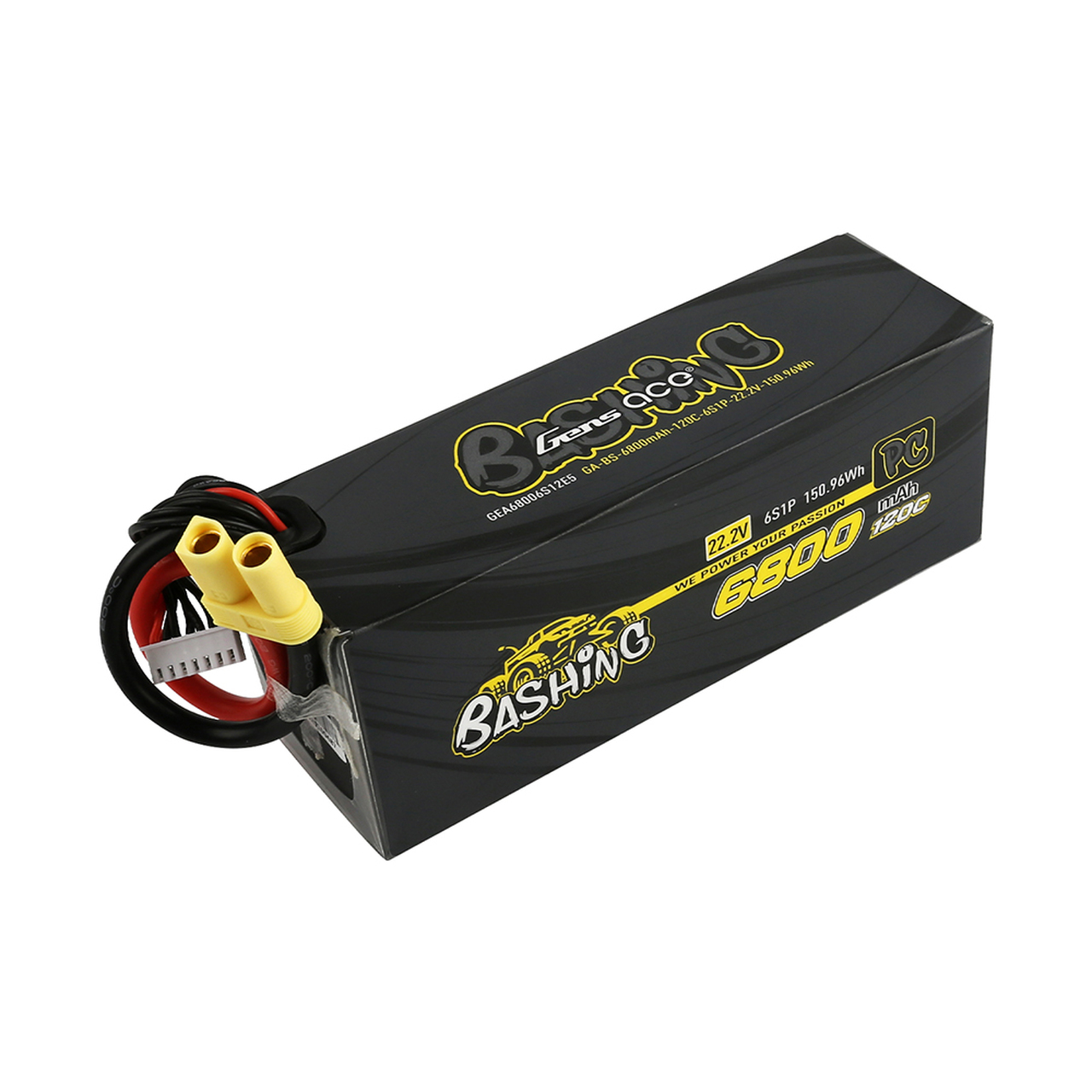 Gens ace Bashing Series 6800mAh 22.2V 120C 6S1P Lipo Battery Pack with EC5 Plug