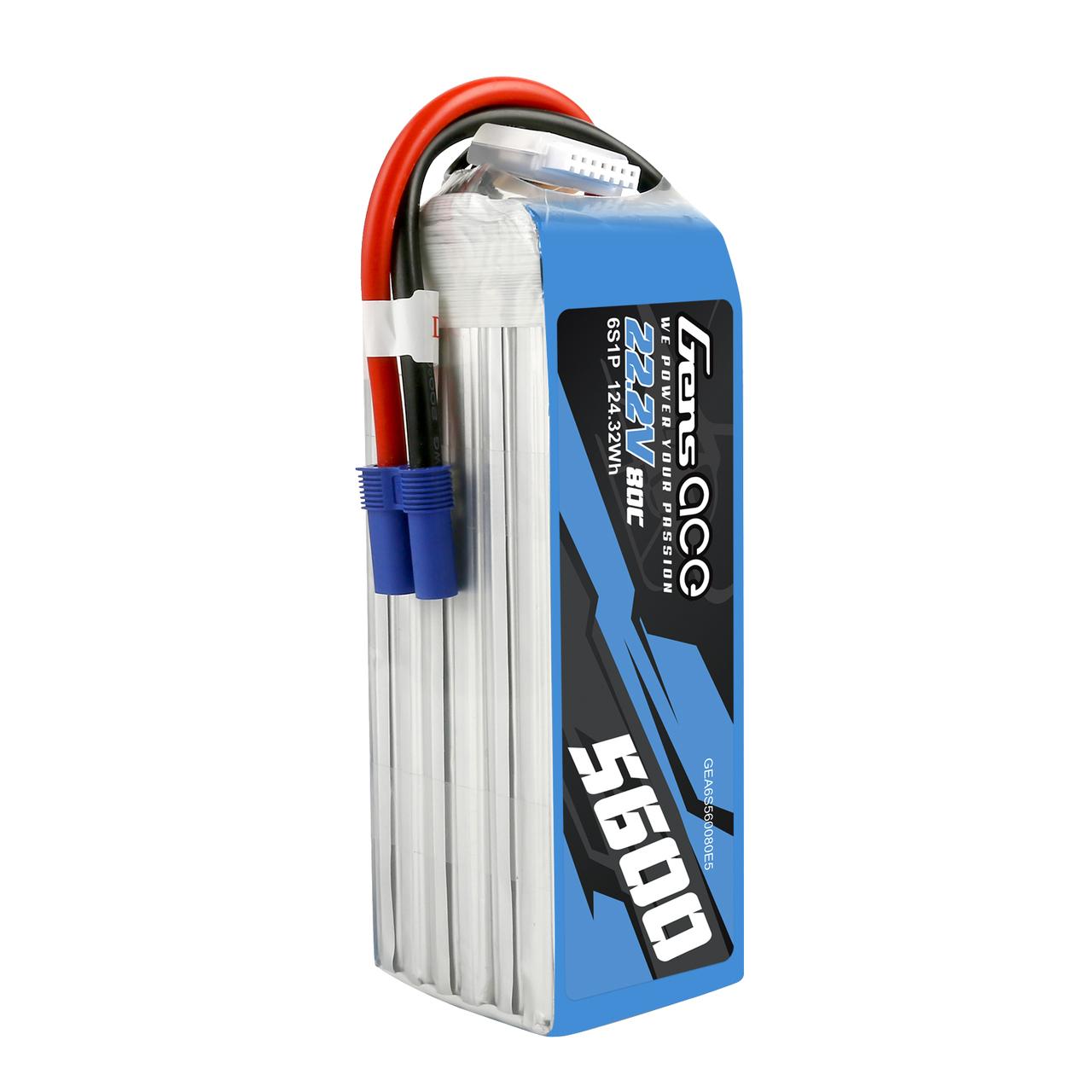Gens ace  5600mAh 22.2V 80C 6SLipo Battery Pack with EC5 Plug