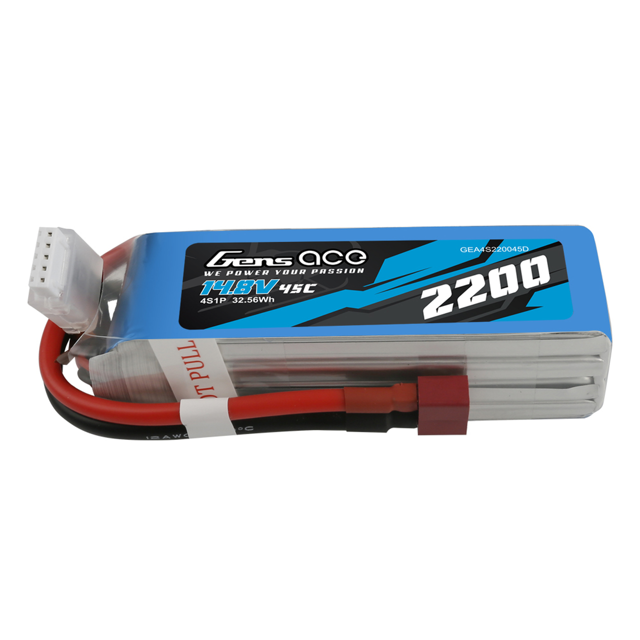 Gens ace 2200mAh 45C  14.8V  4S1P Lipo Battery Pack with DeansPlug