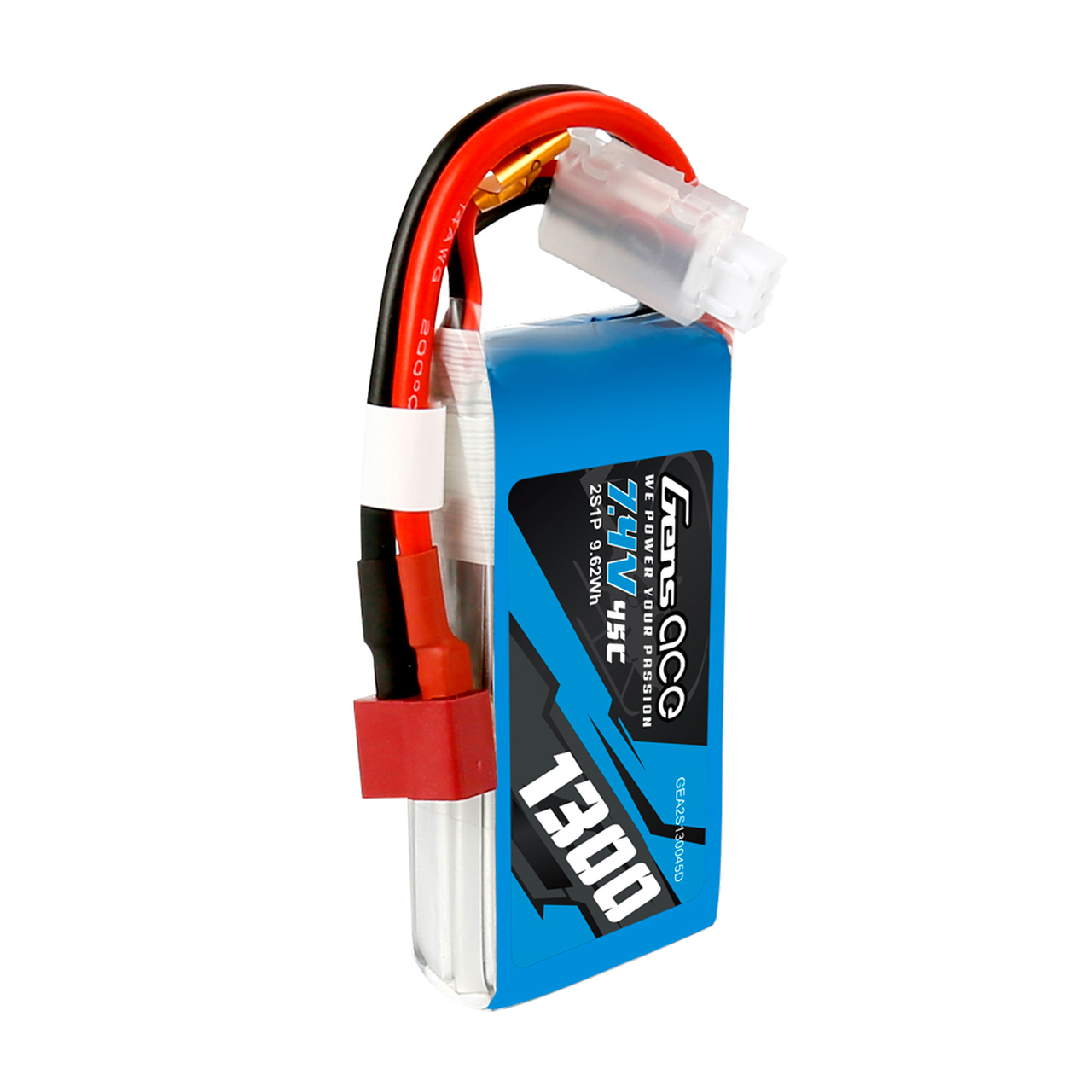 Gens Ace 1300mAh  2S1P 7.4V 45C Lipo Battery Pack with Deans Plug