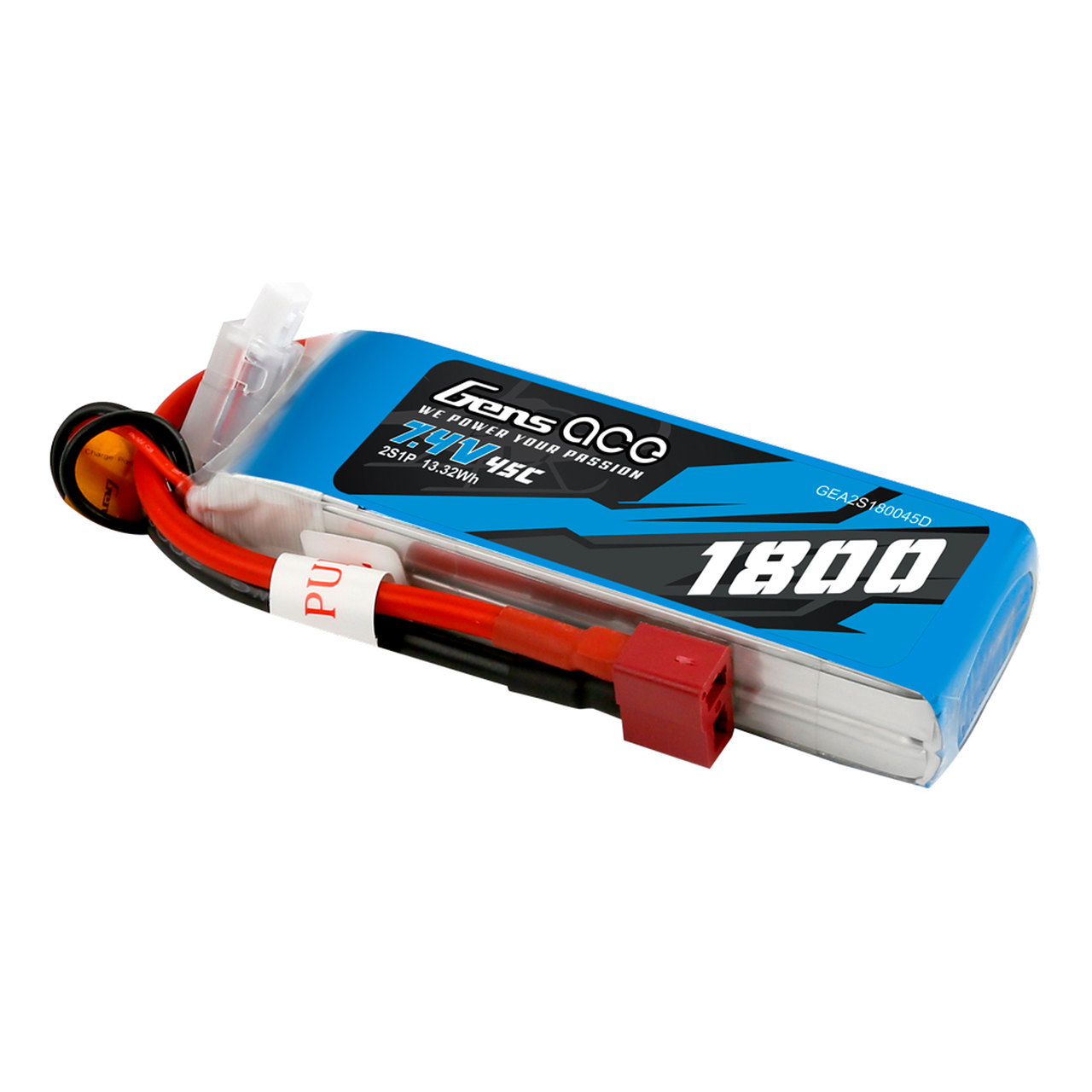 Gens Ace 1800mAh 7.4V  2S1P 45C Lipo Battery Pack with Deans Plug