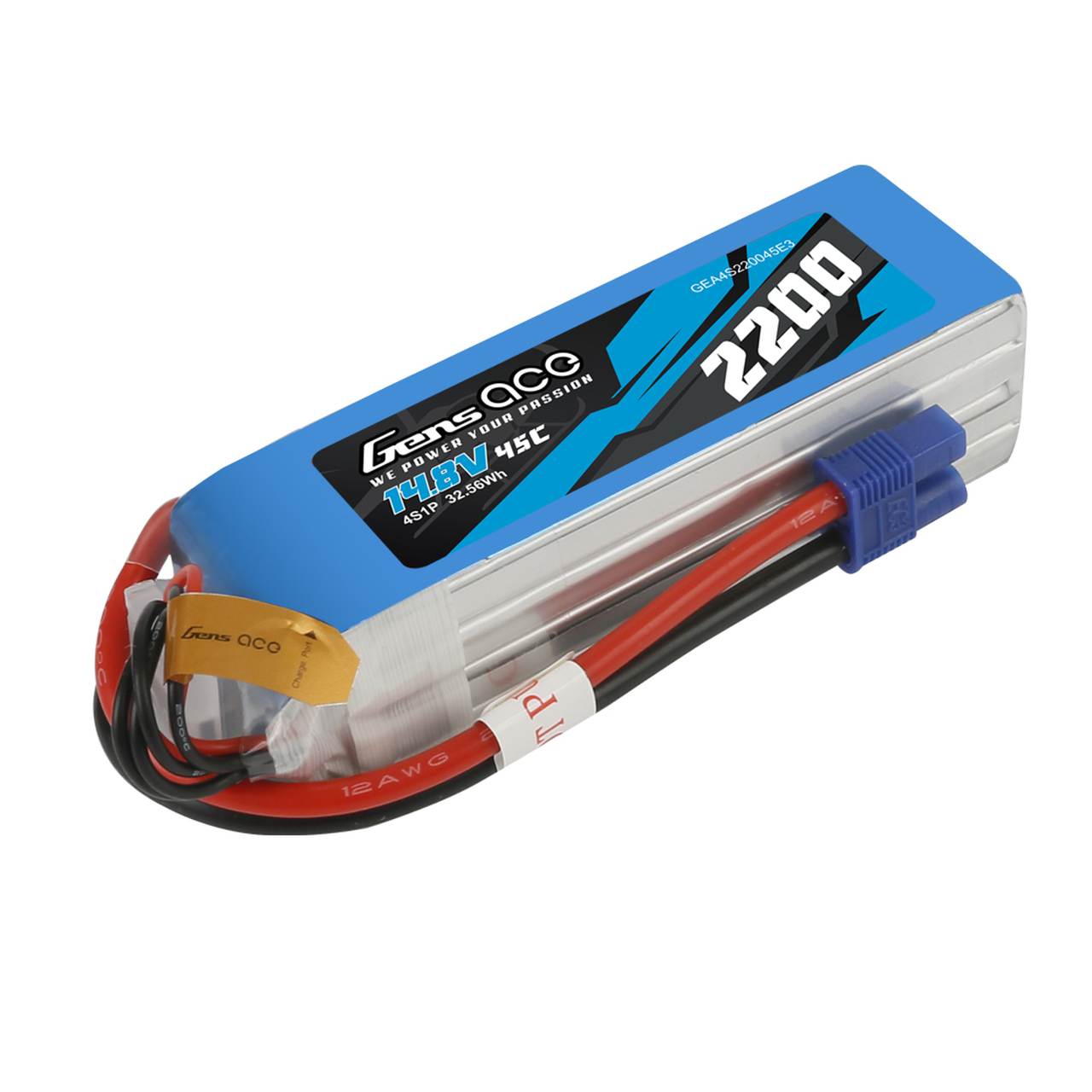 Gens ace 2200mAh  45C 14.8V 4S1P Lipo Battery Pack with EC3 Plug