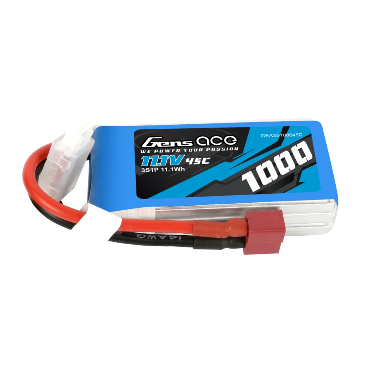 Gens Ace 11.1V  3S 1000mAh 45C Lipo Battery Pack with Deans Plug