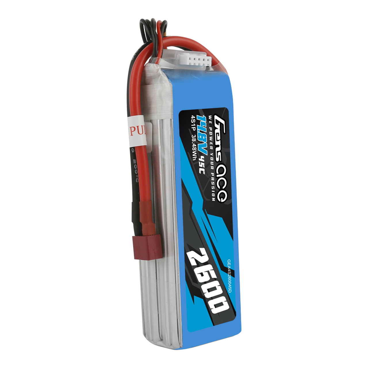 Gens Ace 2600mAh 45C 4S 14.8V  Lipo Battery Pack with Deans Plug