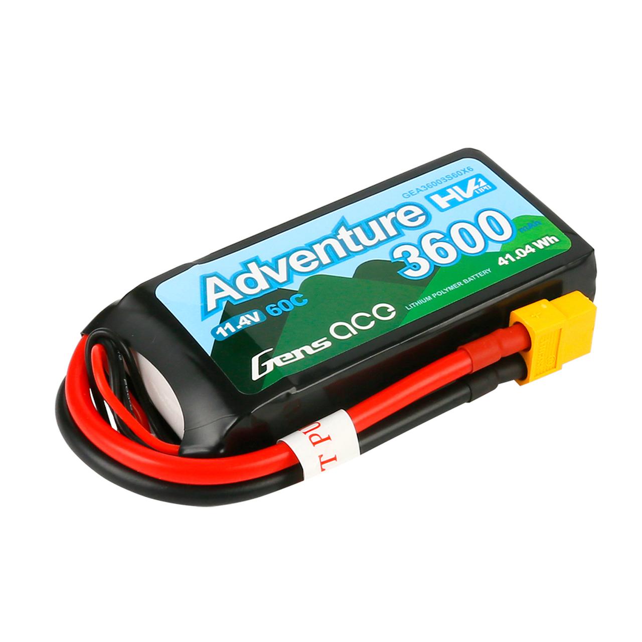Gens Ace Adventure High Voltage 3600mAh 3S1P 11.4V 60C Lipo Battery with XT60 Plug